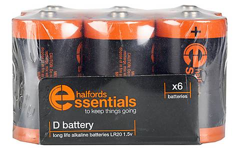 image of Halfords Essential Batteries D x6