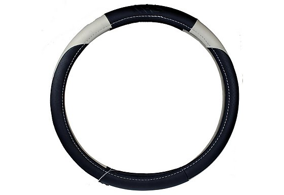 Ripspeed Leather Steering Wheel Cover - Black/White