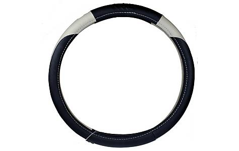 image of Ripspeed Leather Steering Wheel Cover - Black/Grey
