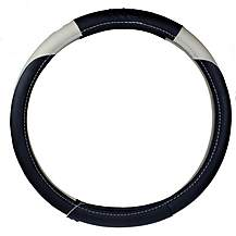 image of Ripspeed Leather Steering Wheel Cover - Black/White