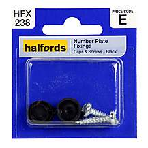 image of Halfords Number Plate Screws and Caps - Black