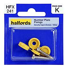 image of Halfords Number Plate Fixings - Yellow HFX241