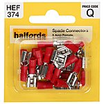 image of Halfords Spade Connectors 5 Amp Female Semi-insulated HEF374