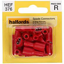 image of Halfords Spade Connectors 5 Amp Female Fully-insulated HEF376