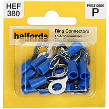 image of Halfords Ring Connectors 15 Amp Insulated 6mm HEF380