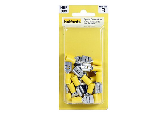Halfords Spade Connectors 25 Amp Female Semi Insulated HEF388