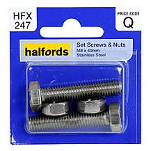image of Halfords Set Screws and Nuts M8 x 40mm HFX247