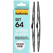 image of Halfords Set 64 Wiper Blades - Front Pair