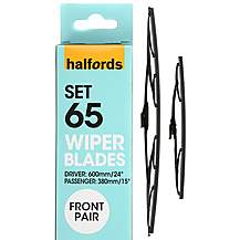 image of Halfords Set 65 Wiper Blades - Front Pair