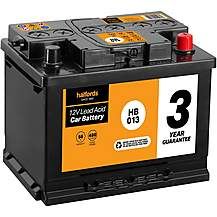Halfords 3 Year Guarantee HB013 Lead Acid 12V