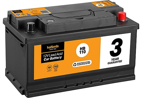 Halfords Lead Acid Battery HB110 - 3 Yr Guarantee