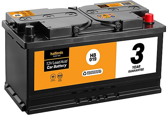 Halfords Lead Acid Battery HB019 - 3 Yr Guarantee
