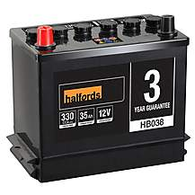 Halfords 3 Year Guarantee HB038 Lead Acid 12V