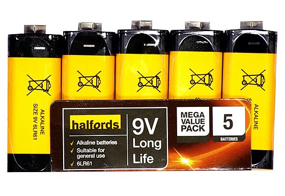 Halfords 9v Battery 5 Pack