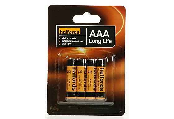 Halfords AAA Batteries 4 Pack