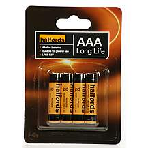 image of Halfords AAA Batteries 4 Pack