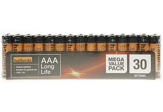Halfords AAA x 30 Battery Megapack