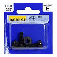 image of Halfords Number Plate Fixings Black HFX237