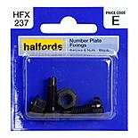 Halfords Number Plate Fixings Black HFX237