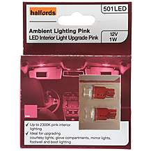 image of Halfords 501 W5W Pink Interior Upgrade Car Bulbs x 2