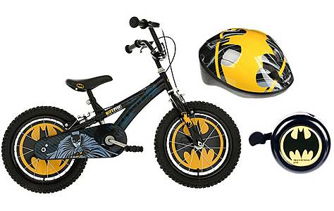 "image of Batman Boys Bike 16"", Helmet & Bell Bundle"