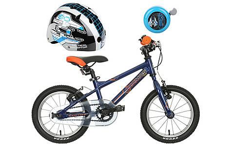 """image of Carrera Cosmos 14"""" Kids' Bike, Helmet & Bell Bundle"""