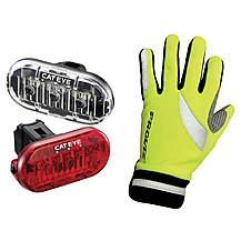 image of Cateye Lightset & Proviz gloves bundle