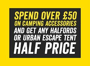 Spend over £50 on camping accessories