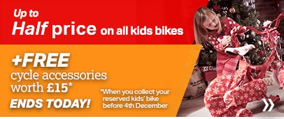 Up to half price on all kids bikes