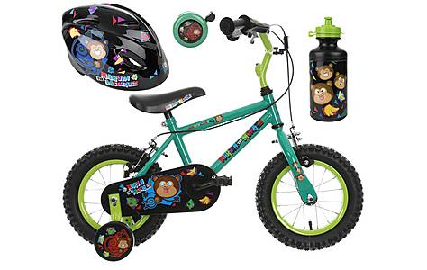 image of Apollo Marvin the Monkey Kids' Bike, Helmet, Bell & Bottle Bundle