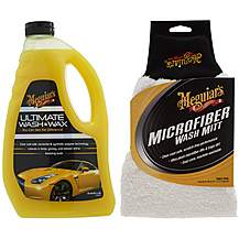 image of Meguiars Ultimate Wash & Wax and Super Thick Microfibre Car Wash Mitt Bundle