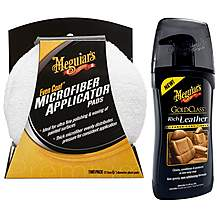 image of Meguiars GC Rich Leather Cleaner/Conditioner & Even-Coat Applicator Pad (2 pack) Bundle