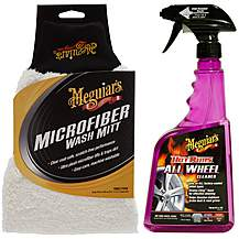 image of Meguiars Hot Rims All Wheel Cleaner & Super Thick Microfibre Wash Mitt Bundle