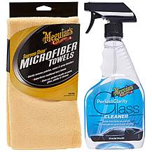 image of Meguairs Perfect Clarity Glass Cleaner & Supreme Shine Microfibre (3 pack) Bundle