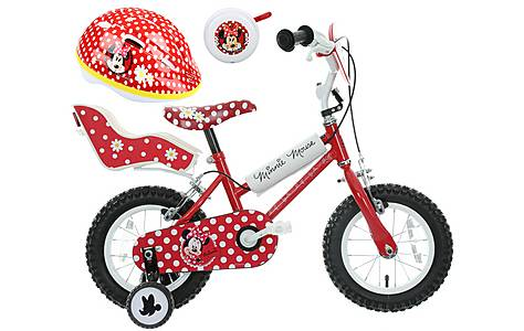image of Disney Minnie Mouse Kids' Bike, Helmet & Bell Bundle