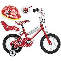 image of Disney Minnie Mouse Kids' Bike, Helmet & Bell Bundle