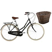 "image of Pendleton Ashwell Hybrid Bike - 19"" & Wicker Basket Bundle"