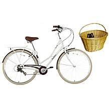 "image of Pendleton Somerby Limited Edition Hybrid Bike White - 17"" & Wicker Basket Bundle"