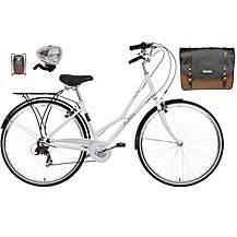 image of Pendleton Somerby Hybrid Bike (White), Pannier Bag & Lights Bundle