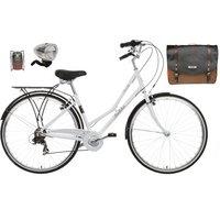 Pendleton Somerby Hybrid Bike (White), Pannier Bag & Lights Bundle