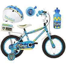 image of Apollo Police Patrol Kids' Bike, Helmet, Bell & Bottle Bundle