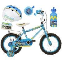 Apollo Police Patrol Kids' Bike, Helmet, Bell & Bottle Bundle