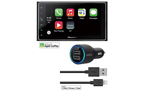 image of Pioneer SPH-DA120 Car Stereo with Apple CarPlay & Belkin Charger Bundle
