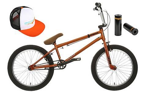 image of Mongoose Scan R120 BMX bike, Cap and Stunt Pegs Bundle