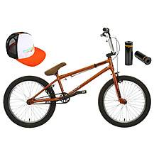 image of Mongoose Scan R120 BMX bike, Cap and Stunt Pegs Bundle