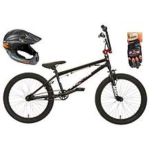 image of Mongoose Scan R50 BMX bike, Helmet and Gloves Bundle