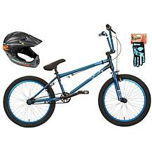 image of Mongoose Scan R90 BMX bike, Helmet & Gloves bundle