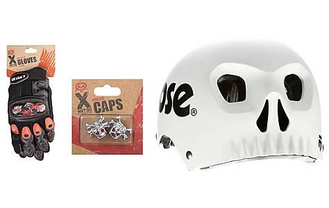image of Mongoose Skull Kids' Bike Helmet, Gloves and Valve Cap Bundle