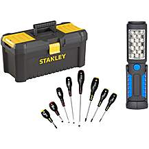 image of Stanley Toolbox Bundle with Halfords Advanced 8pc Screwdriver Set and LED Inspection Lamp