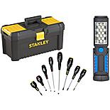 Stanley Toolbox Bundle with Halfords Advanced 8pc Screwdriver Set and LED Inspection Lamp